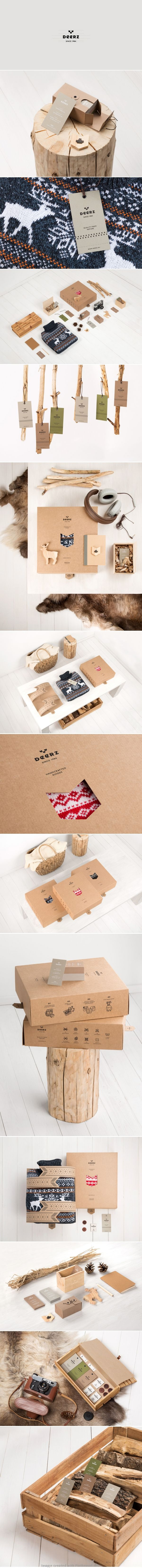 Deerz logo corporate branding visual graphic identity kraft paper design business card label packaging box white print clothing nature wood