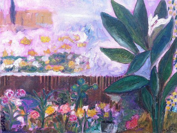 Pittura arte del paesaggio originale dipinto ad olio di ArtSigalit