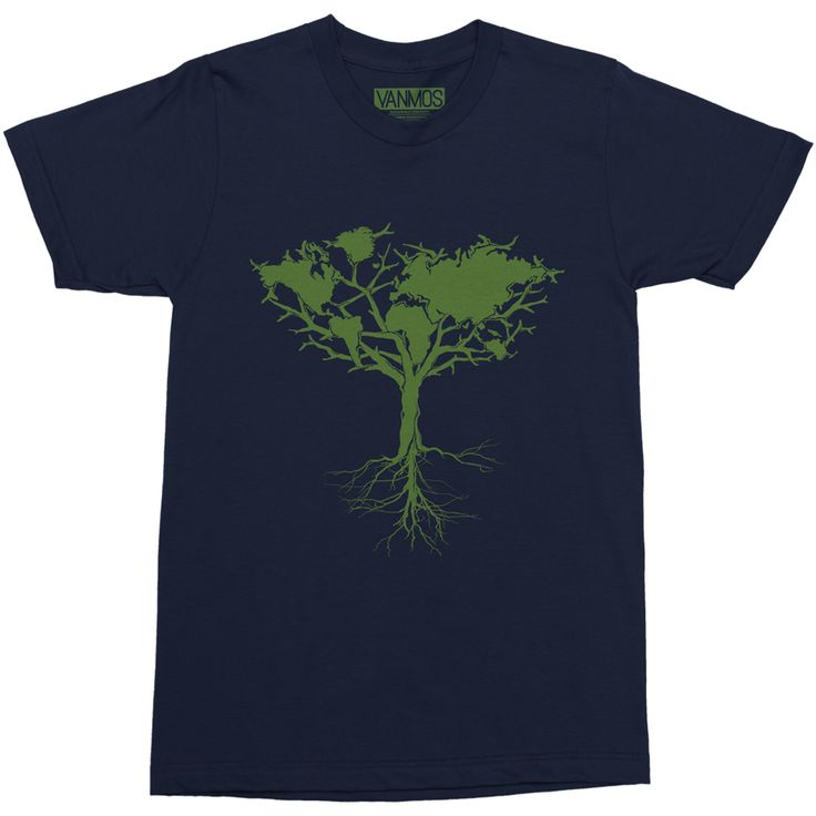 EARTH TREE. Short sleeve men (unisex) t-shirt made of 100% combed and ring-spun cotton. Shoulder-to-shoulder taping.  Unisex sizing, normal fit. Featured Color Navy blue. Eco-friendly water-based inks