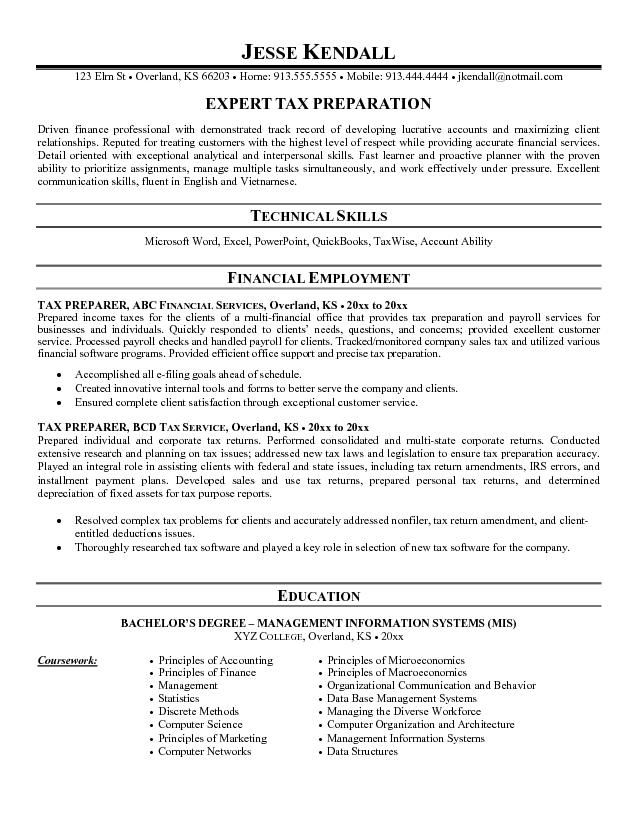 Tax Preparer Resume Examples Resume Examples  Accounting Jobs Senior Accountant…