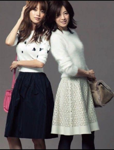 トップはコンパクトにスカートはふんわり ♡タイプいろいろ大人モテ系コーデのファッション スタイル アイデア♡