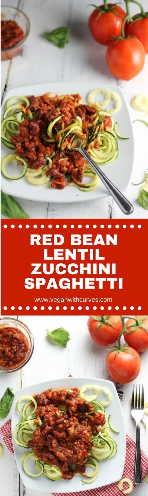 Summer Zucchini! Zucchini Spaghetti topped with red bean and lentil spaghetti sauce!