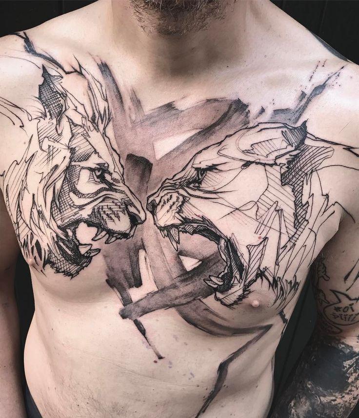 """Gefällt 6,638 Mal, 81 Kommentare - L'oiseau (@loiseautattoo) auf Instagram: """"Day 2 - with @sailorkea & @jacobredmond tattoo machines #chesttattoo #graphictattoo #blackworkers…"""""""