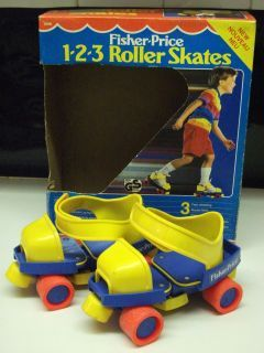 Fisher Price roller skates... devastating memories of these... I fell on the stopper... YIKES! These are why I'm still afraid of roller skating!!!! I hang on the wall!