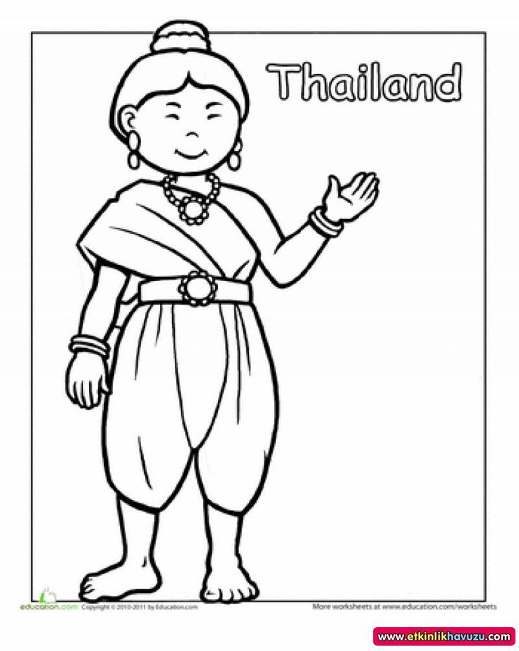 First Grade People Community Cultures Worksheets Thai Traditional Dress Coloring Page