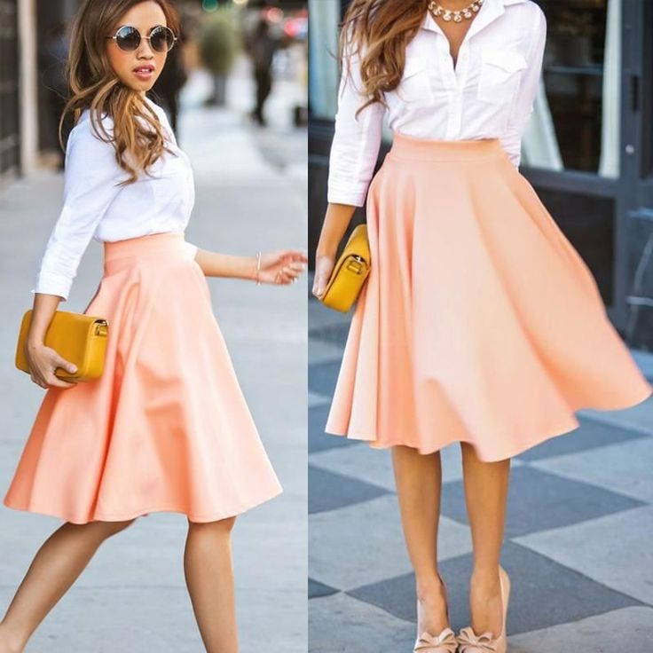 Pink Plain Draped High Waisted Pleated Retro Flared Full A Line Party Midi Skirt - Skirts - Bottoms