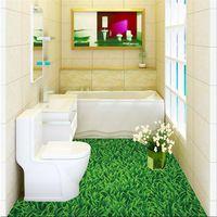 Modern Floor painting HD green meadow landscape Waterproof Bathroom kitchen PVC Wall paper Self wall sticker Floor mural