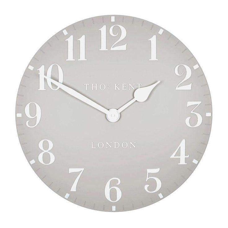 "Accent Wall Tom Kent: Thomas Kent Arabic Dove Grey Wall Clock (50cm/20"")-Duck"
