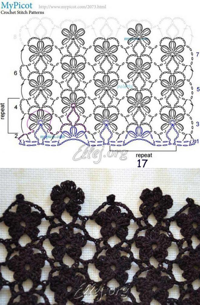 Цветочный узор | Crochet by Ellej | Вязание крючком от Елены Кожухарь