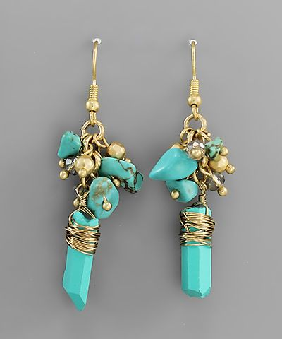 Turquoise Stone and Matte Gold Wire Earrings  $19.00 with FAST, FREE SHIPPING