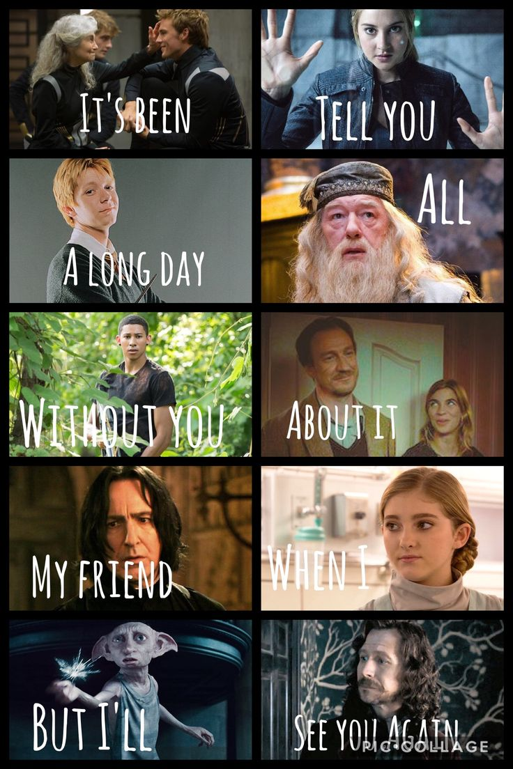 Mags and Finnick-Hunger Games, Tris-Divergent, Fred-HP, Dumbledore-HP, Uriah-Divergent, Remus&Tonks-HP, Snape-HP, Prim-Hunger Games, Dobby-HP, Sirius-HP