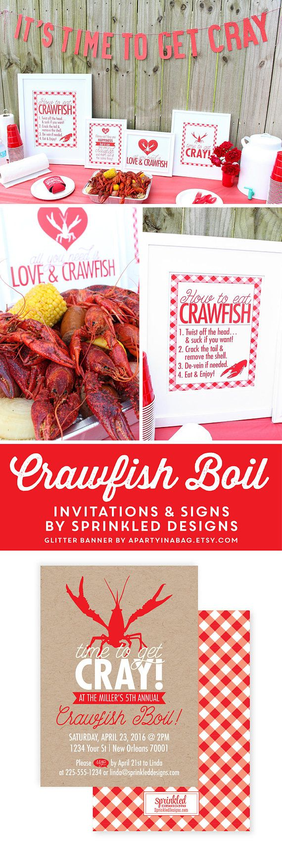 Crawfish Boil Invitation - Time to get Cray Cray - New Orleans Seafood Boil - Rustic Kraft Paper - Louisiana Crawfish Boil Party Invites - SprinkledDesigns.com