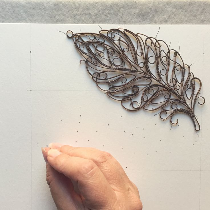 Wire art - attaching piece to the paper Instagram @springstring