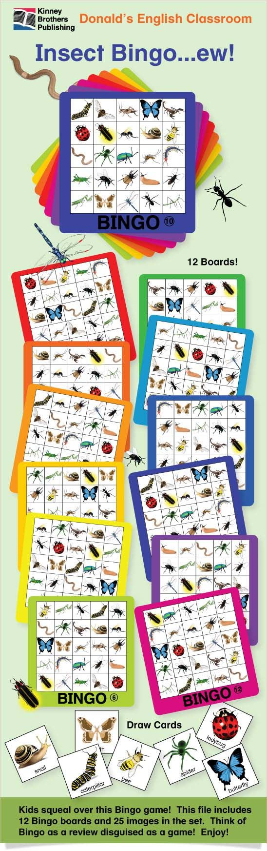 Insect Bingo - Kids squeal over this game!  This file includes 12 Bingo boards and only 25 images in the set - so you can play with your youngest ESL students.  Think of Bingo as a review disguised as a game!  Also perfect for student centers, special holidays, or just icky fun!  Enjoy!  $2 on TpT  #ESL #EFL #ELL