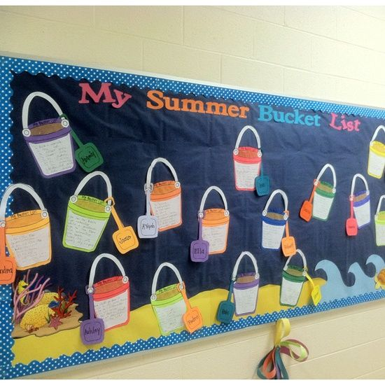 """Free Clip Art for Summer at Charlotte's Clips can be used to create bulletin boards like this one """"My Summer Bucket List"""""""