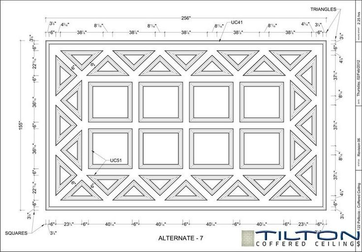 Coffered Ceiling Design Drawing - Bespoke 27