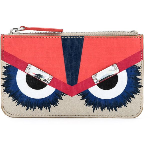 Fendi Monster Leather Key Ring Pouch ($300) ❤ liked on Polyvore featuring bags, handbags, clutches, multi, red purse, fendi pochette, fendi handbags, fendi purses и multi colored leather handbags