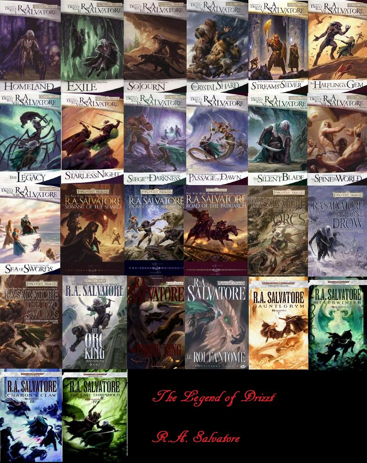 Legend of Drizzt series by R.A. Salvatore. A guilty pleasure I indulge in from time to time. This and the Dragonlance series (Weis+Hickman, Knaak books), really takes me back to my youth and the beginnings of my love affair with fantasy stories.