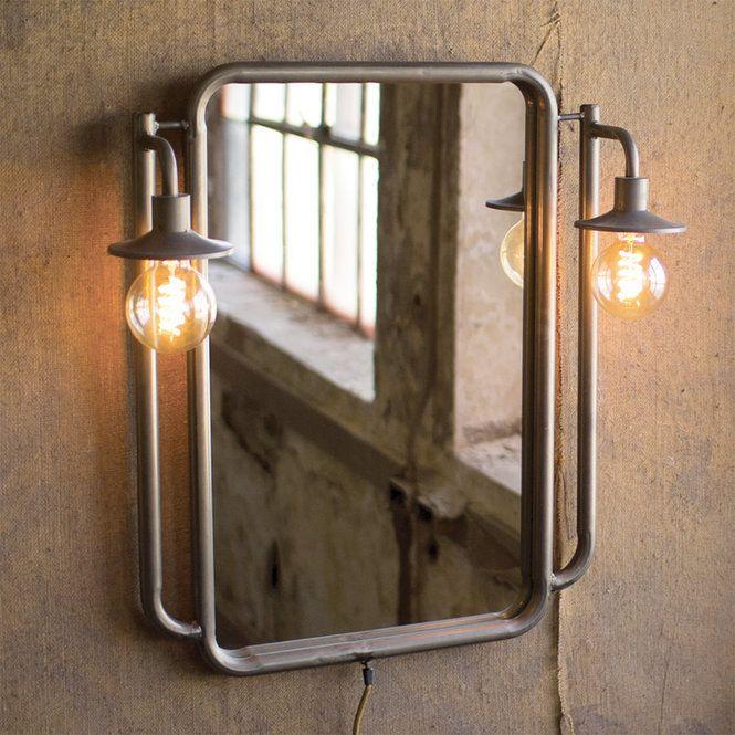 Industrial Vintage Lighted Mirror Gunmetal Industrial Mirrors Industrial Light Fixtures Vintage Industrial Lighting