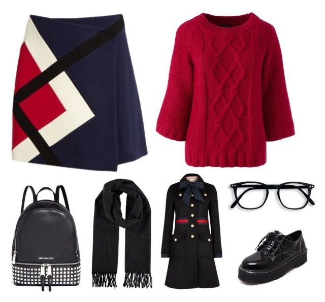 """Cold in red"" by giovanna-222 on Polyvore featuring MSGM, Michael Kors, WithChic, Lands' End and Gucci"