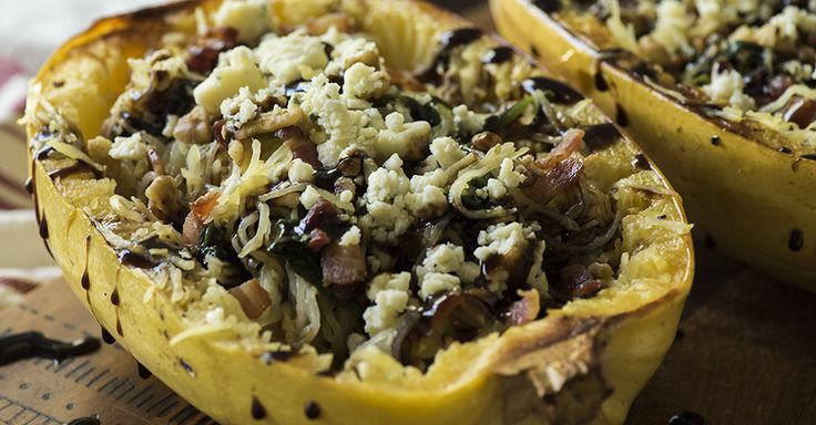 Spinach Bacon Blue Cheese Spaghetti Squash