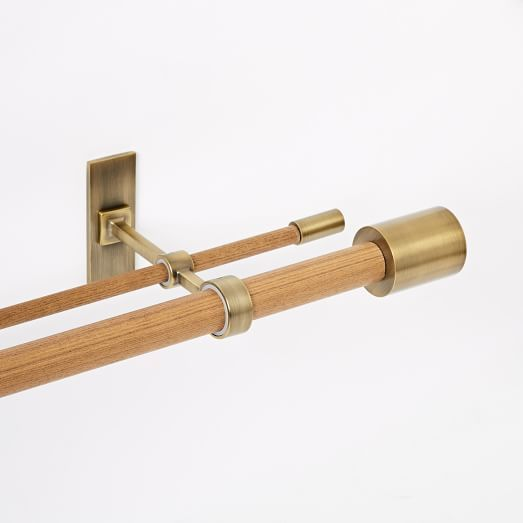 Mid-Century Wooden Double Rod - Wood/Brass | west elm
