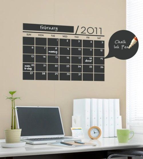 "This chalkboard wall calendar is a vinyl wall decal including replaceable digits for the year. Measuring 15x22"" with large 3x2"" squares for each day. Combine this set with the Chalk Ink Pens for a great addition to your office space. $35 for vinyl chalkboard calendar, $5 for chalk pen.  (via SimpleShapes)"