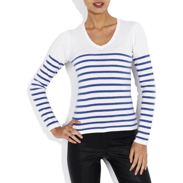 Sorrento Sweater Ivory/Stripes via Polyvore