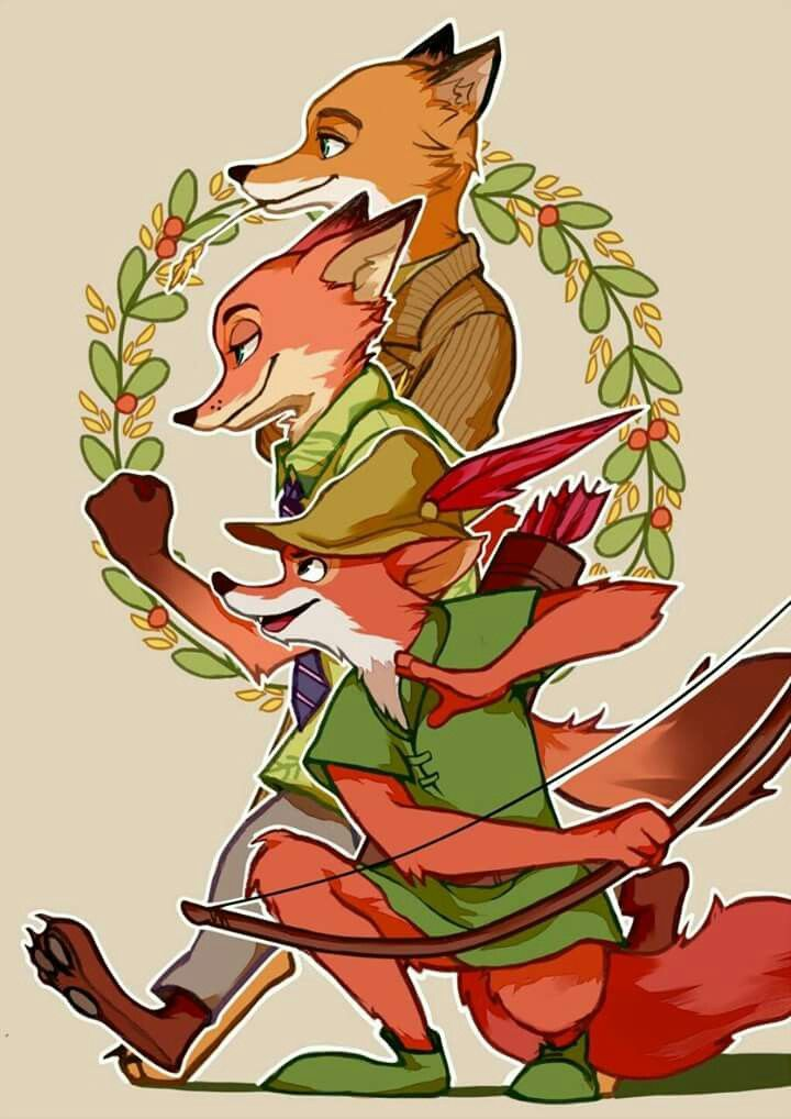 Foxes ~ Fantastic Mr. Fox ~ Nick Wilde ~ Robín Hood~ Zootopia. Best picture ever made