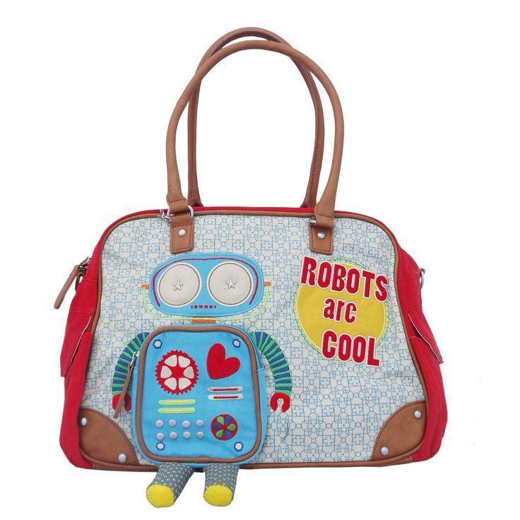 Coole Wickeltasche mit Roboter von Room Seven mit vielen Details und Stickereien