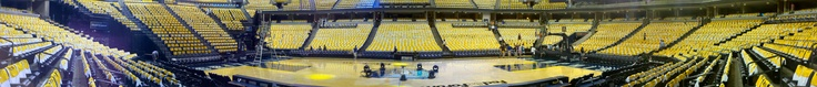 Panorama of the Memphis Grizzlies stadium before the game. Lots of Tees and Towels! #gogrizz #believememphis