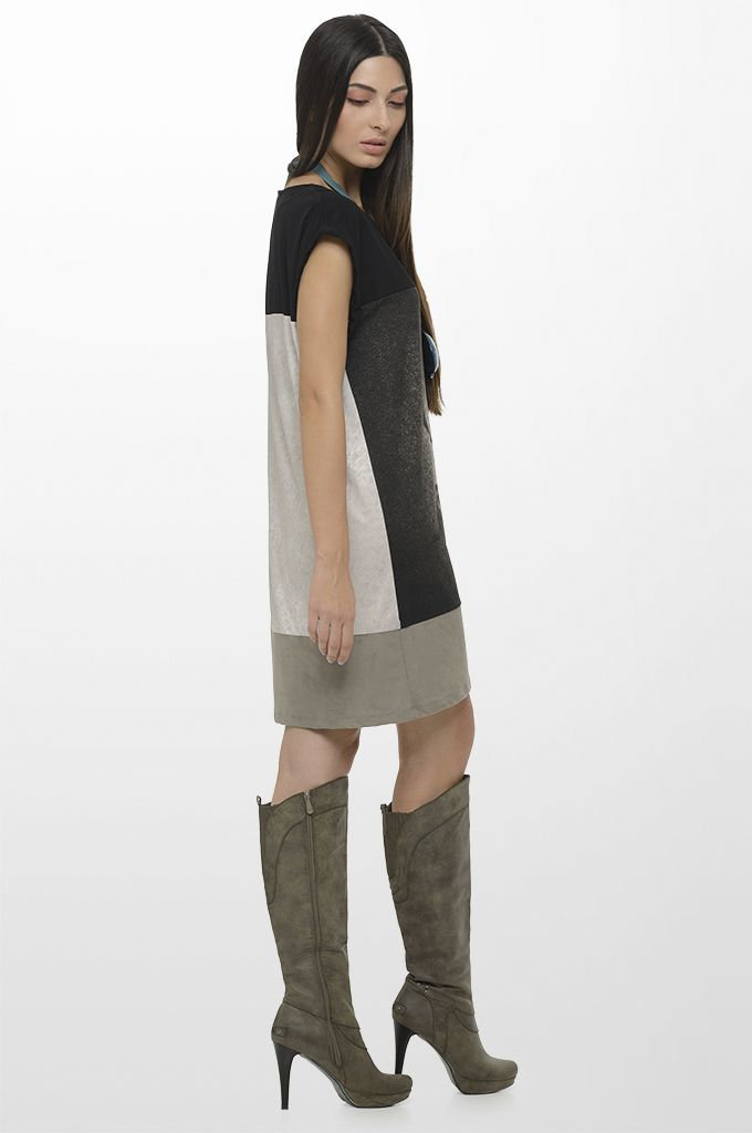 Sarah Lawrence - short sleeve printed dress with combination of 4 fabrics.