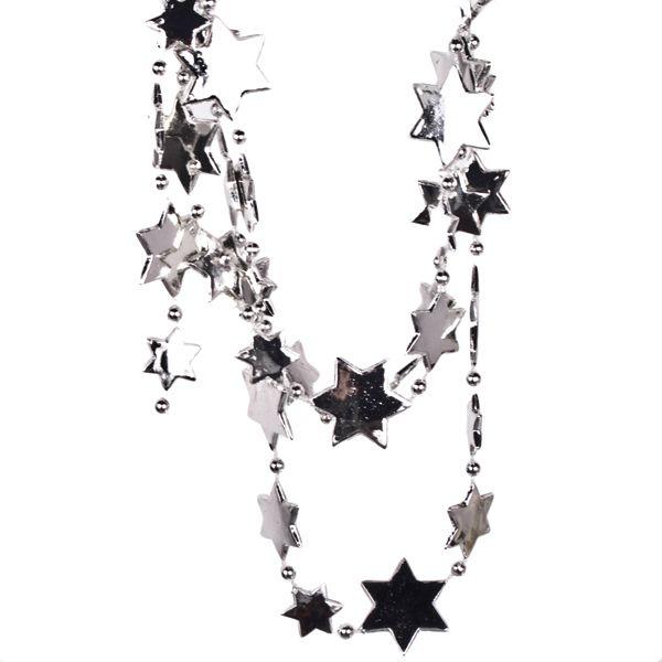 Silver Star Bead Garland - 2.7m