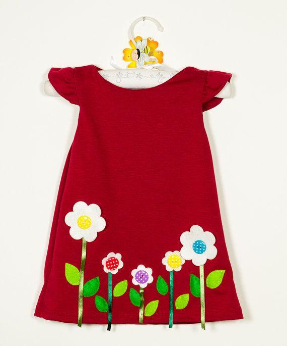 red felt applique dresshandmade flowerspolka dots by marvieshop