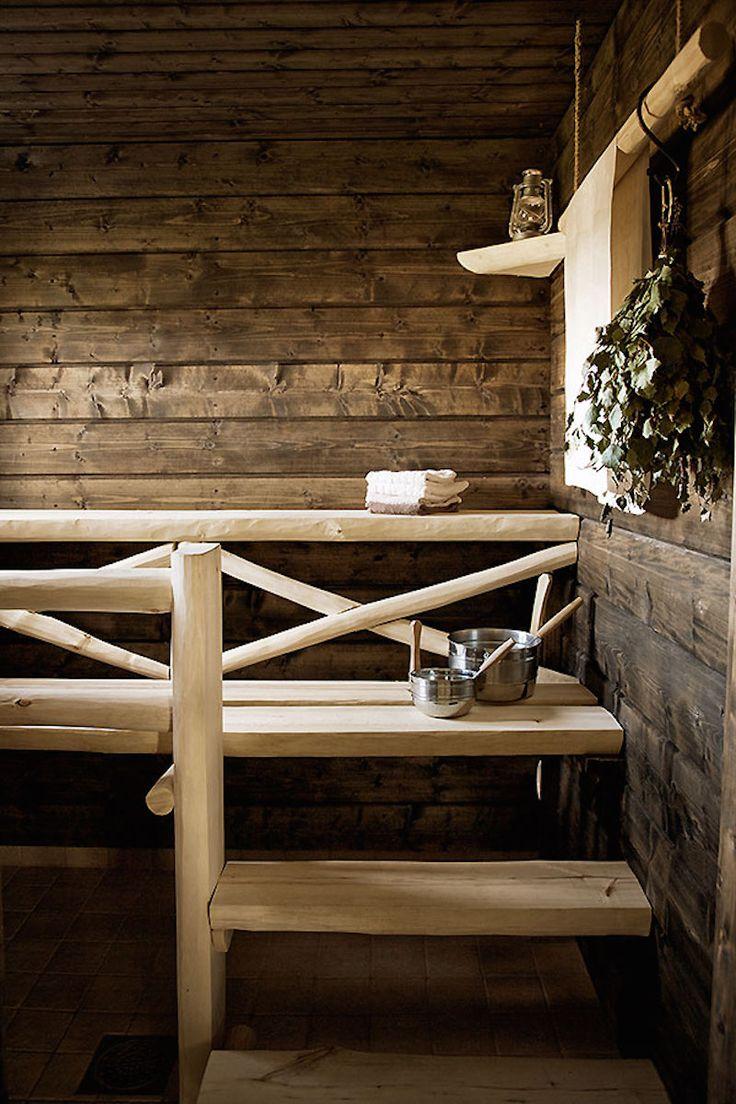 Finnish sauna with dark brown walls