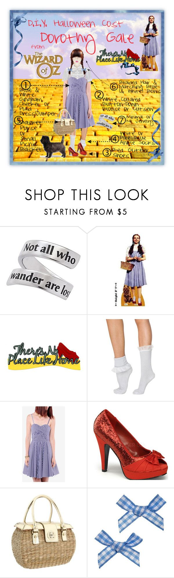 """""""D.I.Y. Halloween Costume: Dorothy (Wizard of Oz)"""" by mysticrose29 ❤ liked on Polyvore featuring Luna, Natures Jewelry, Warehouse, American Apparel, Paul & Joe Sister, Kate Spade, Miss Selfridge, plaid, gingham dress and red glitter shoes"""