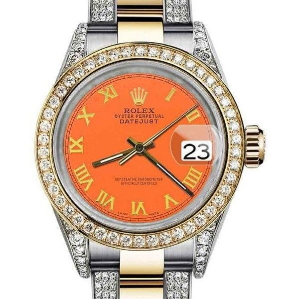 Pre-owned Rolex Oyster Perpetual Datejust with Orange Color Diamond... ($7,998) ❤ liked on Polyvore featuring jewelry, watches, diamond jewellery, rolex, diamond dial watches, leather-strap watches and 18k watches
