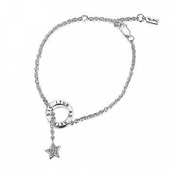 www.presentjakt.se: Ett armband av sterlingsilver med en stjärna med diamanter i och en ring stansad med den latinska texten