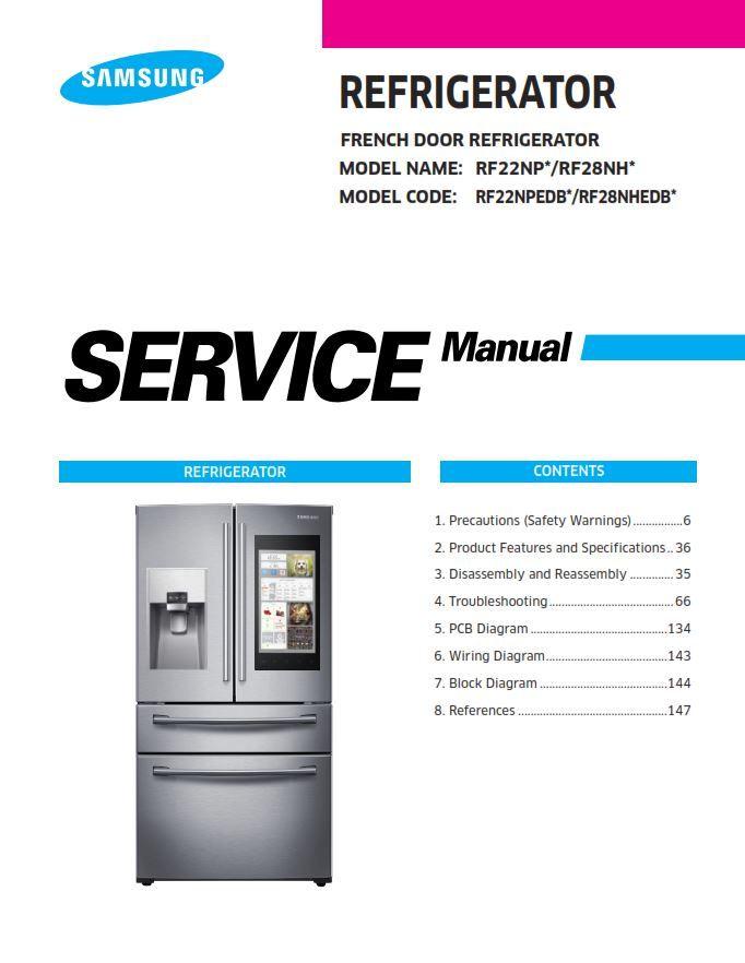 Samsung Rf22npedbsr Rf22npedbsg Rf28nhedbsg Rf28nhedbsr Refrigerator Service Manual Refrigerator Service Circuit Board Refrigerator Models
