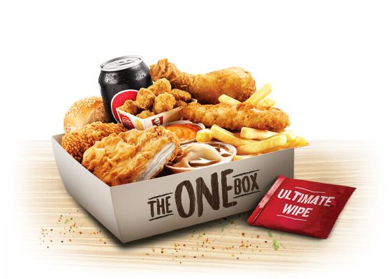 KFC Australia - The One-Box; piece of golden Original Recipe Chicken, a Wicked Wing, an Original Recipe Fillet or spicy Zinger Fillet, Original Tender, Mini Popcorn Chicken, a dinner roll, regular potato and gravy, chips, drink and Supercharged sauce.