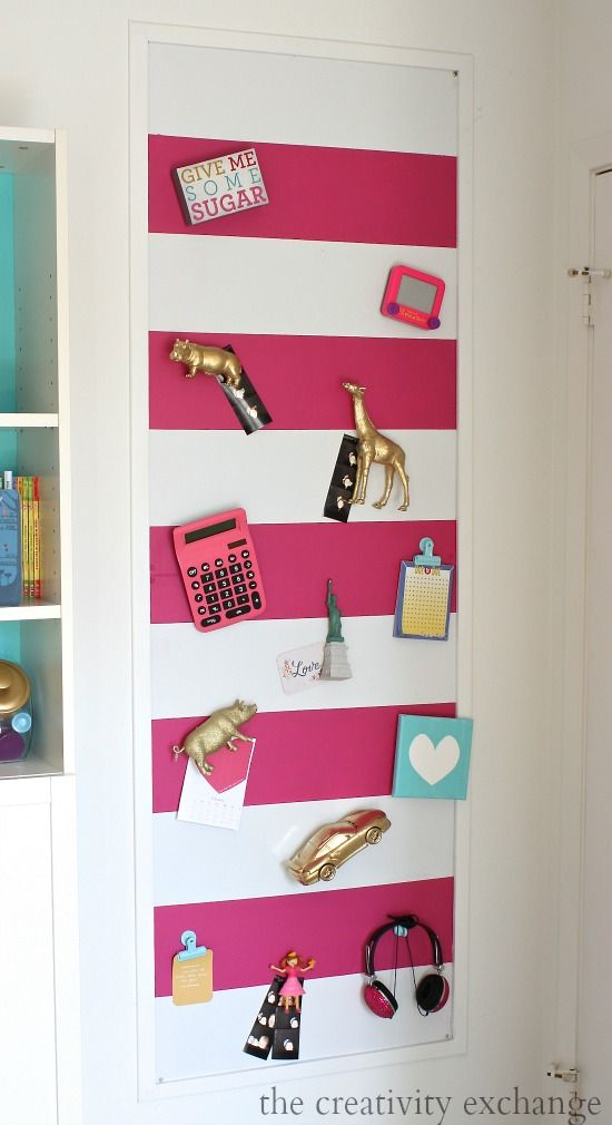 DIY Magnetic Board Tutorial paint or fabric covered.
