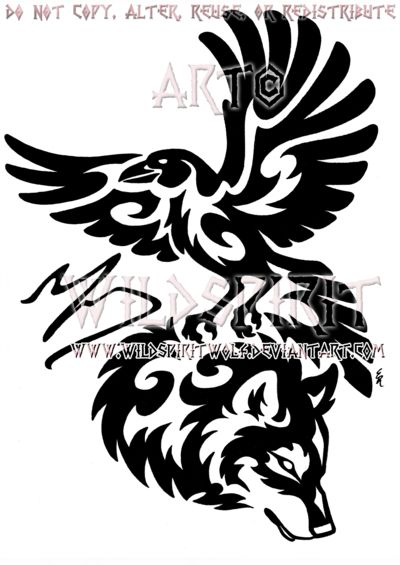 Tribal Raven And Wolf Memorial Design by WildSpiritWolf on deviantART