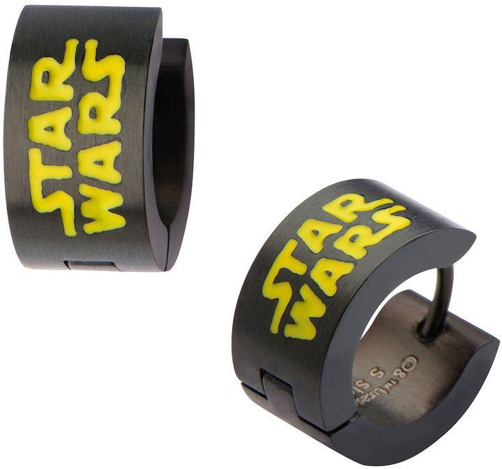 FINE JEWELRY Star Wars Black Stainless Steel Logo Hoop Earrings