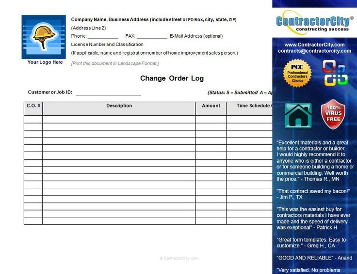 constructioncompanycontracttemplate – Change Order Template Example