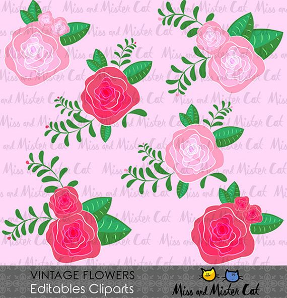 Vintage Flowers Cliparts. Flowers vector graphics, Vintage Flowers digital clip art, digital images. Commercial use. Model Vintage Flowers