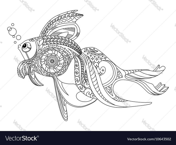 Vector image of Gold fish coloring book for adults Vector Image, includes black, pattern, design, drawing & sketch. Illustrator (.ai), EPS, PDF and JPG image formats.