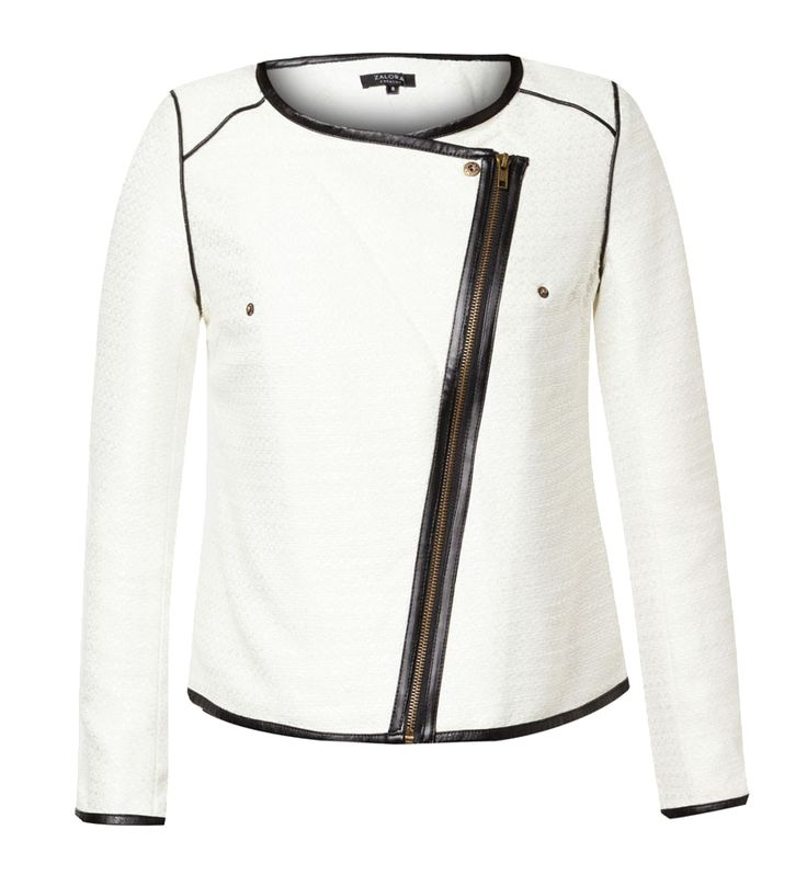 Collarless Tweed Biker Jacket by Zalora. A stylish biker jacket, this jacket can go formal or casual, if you want to look formal just zipped it up and with casual look unzipped the zipper and pait it with tee. Made from polyester, with white color, Asymmetric neck. http://zocko.it/LD2mU