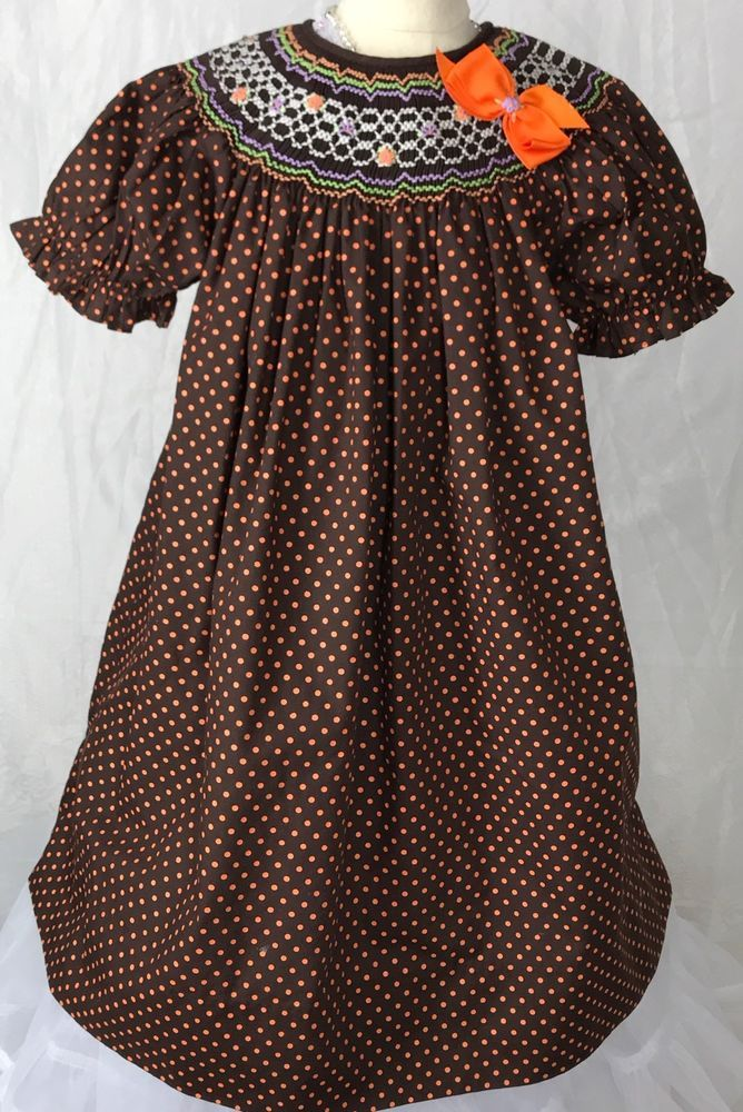 Rosalina Collections 3T Girls Smocked Dress EUC Brown Orange Bright Colors  | eBay