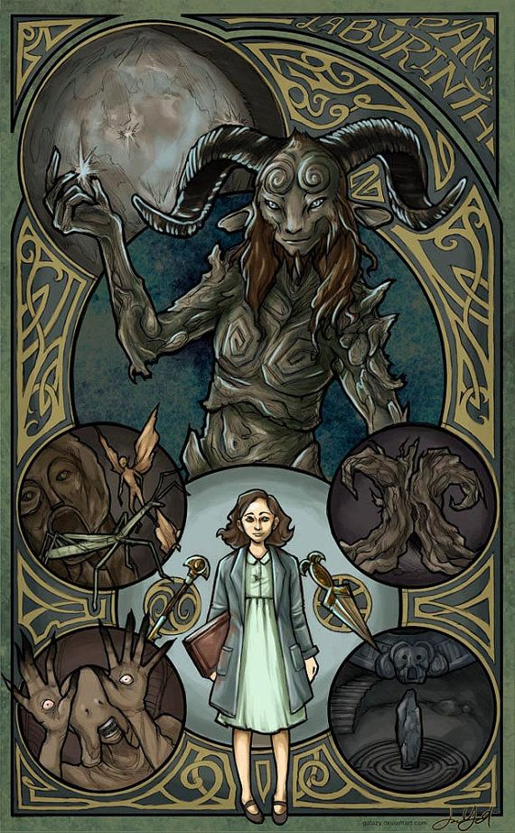 Pan's Labyrinth Art Nouveau Illustration Poster by JYungHandcrafted | Etsy