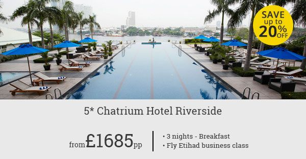Luxury stay at Chatrium Hotel Riverside combined with business class flights with Etihad Airways for an absolute 5 Star holiday for you.